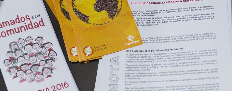 Publicación de la memoria económica y social de Cáritas  de 2016