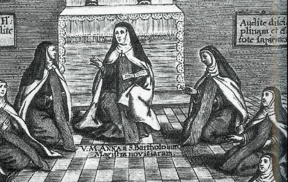 ANA DE SAN BARTOLOMÉ ENSEÑANDO A LAS MONJAS EN SUS FUNDACIONES. GRABADO SIGLO XVII
