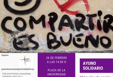 Ayuno Solidario de Pastoral Universitaria (miércoles, 26, a las 14h)