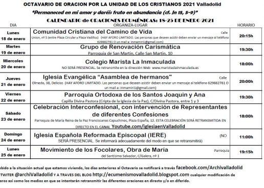Programación del Octavario por la Unidad de los Cristianos